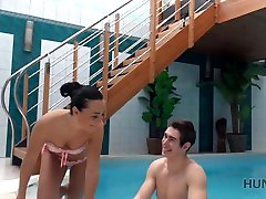 HUNT4K Lovely brunette tastes dick of the owner of little spa zone