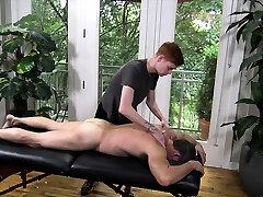 Ginger twink masseur films himself fucking DILF client