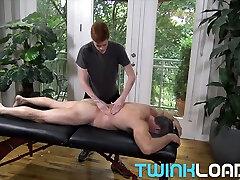 TwinkLoads Ginger twink masseur films himself fucking DILF client
