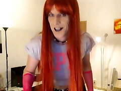 Smoking redhead in wetlook Dance