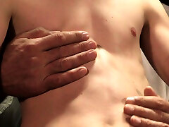 Smooth little twink boy cums twice for hairy muscle daddy