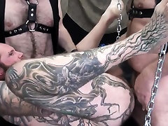 Hairy squirting slutts spitroasted serving two cocks