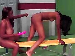 Ebony girls practicing the art of dildoing