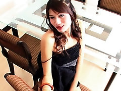Ladyboy May Jerks Off And Cums Into Wine Glass