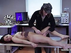 Brunette held down and brought to orgasm by Master