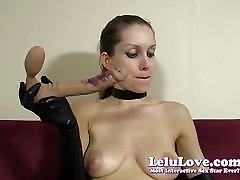 Goth girl in gloves gives messy lipstick blowjob