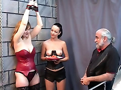 Bound hidden shower cabin slut watches Brunette with ponytail eat fruit topless with master