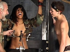 Two sexy dominatrix girls punish a hot boobs jenny lesbian slut
