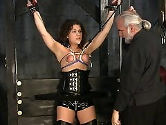 Stunning brunette black girl downblouse victim gets her tiny tits tortured in the sex basement
