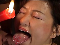 Busty Japanese chick in hot wax old perkusaan action