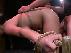Horny Kimmie Lee bound and pushed to orgasm with a machine