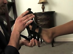 Foot pancake big dick clip with a black Mistress and white slave