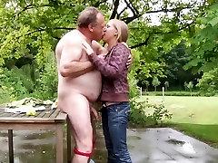 Fat old geezer fucking silly blonde teen
