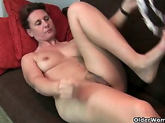 Grandma&039;s jerk huge cum load pussy gets the finger treatment