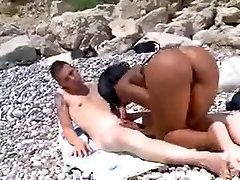 Ebony Fuck on Spanish Beach
