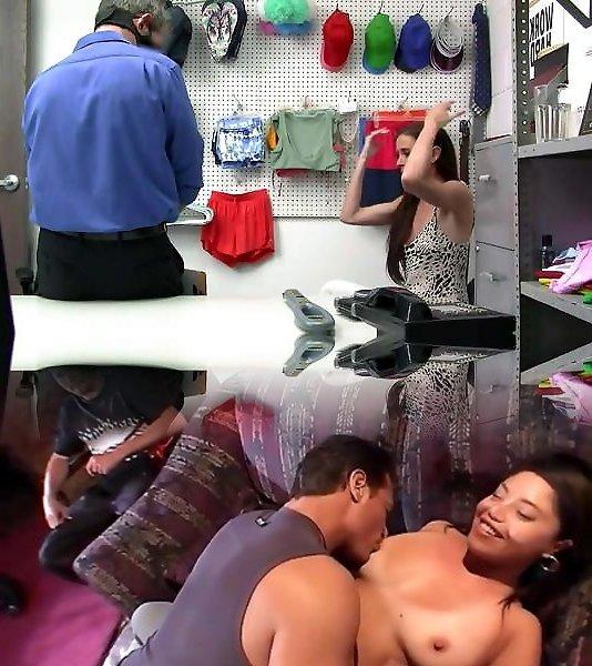 Megan Sage wird wegen Ladendiebstahls von zwei Sicherheitsleuten gefickt