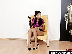 Juicy latina Lexi hidding pantyhose in her muff