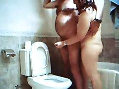 handjob in the bathroom with Adriana