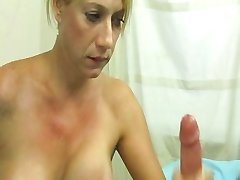 Mom Mrs Moore jerking  her son