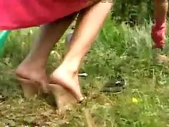 Dirty foot fetish outside