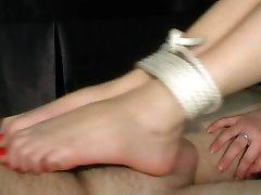 Footjob bondage