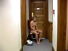 Brunette Jenifer is punished and made to sit before getting spanked