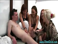 Slutty cfnm blonde gets dirty
