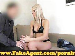 FakeAgent Blonde babe gets spunk shower