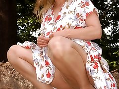Outdoor with Angel in skin colored pantyhose