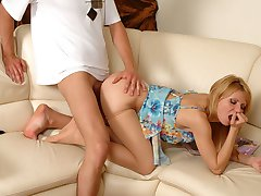 Hiding away with sheer pantyhose babe finally taking advantage of stiff rod