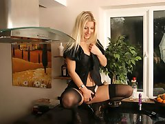 French Maid Sarah in black stockings