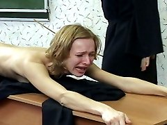 Brutal naked caning for pretty girl in tears - deep stripes and welts