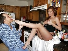 Busty Estrella Flores spreading her legs wide in her kitchen table to let her partner admire her...