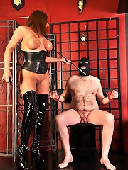 After spanking and trampling on her slaves pathetic cock, Mistress Carly rides him hard and...