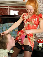 Redhead chick feels like pounding sissy guys ass with her rubber strap-on