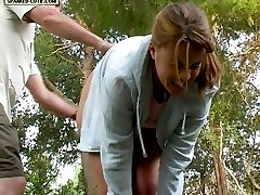 Slippered on her bare bottom in the garden - teen cutie in tears