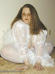Plump amateur wife in glasses stockings and lace