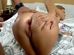 Passionate blonde amateur girl Summer riding anally a thick schlong in bedroom