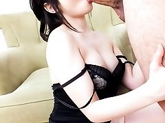 Arisa Nakano Asian with hot cleavage gets cum on her sexy lips