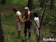 Brunette In The Woods Caught And Thrown In Bondage