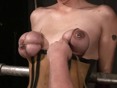 Tied slave tits squeezed