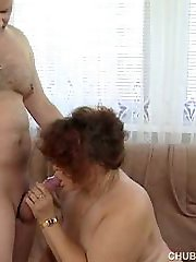 Old and fat mouth and pussy fucked