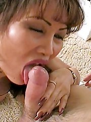 Hot matured Asian sucking stiff cock