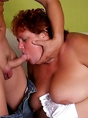Insatiable fatty Sherry gets down on her knees to slurping a fat cock and gets jizzed