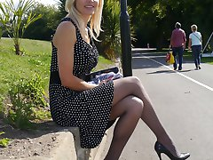 Gorgeous stiletto wearing lady Monica, is outdoors in a lovely dress with sharp pointy high heel...