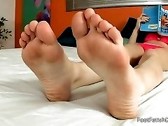 Lexi had a hard day at work and need her skin and bones stay at home husband to massage her feet. After a little light sucking she makes him take his cock out so she can play with it with her perfect feet. Then he fucks her tight pussy to orgasm before he blasts his load all over her feet.