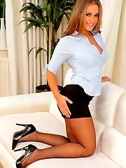 Amazing secretary Emma K in black pantyhose