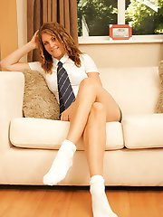 Laura in college uniform with ankle socks