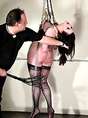 Bondage suspension and tits abuse