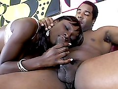 Wet Chocolate diddling with her black snatch and taking hard cock shoving from a black hottie
